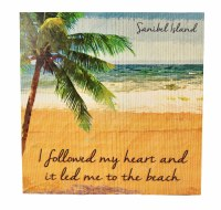 """12"""" Square Sanibel Island I Followed My Heart To The Beach Wooden Wall Plaque"""