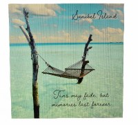 """12"""" Square Sanibel Island Tans Fade but Memories Last Forever Wooden Wall Plaque"""