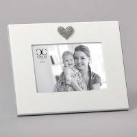 "4"" x 6"" White With Silver Bling Heart Picture Frame"
