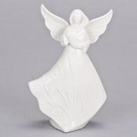 "6.75"" White Angel Holding Heart Figurine"