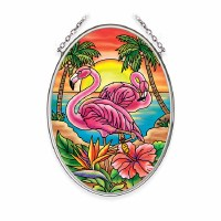 "5"" x 3"" Small Oval Flamingo Suncatcher"