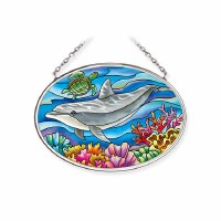 "5"" x 3"" Small Oval Dolphin Suncatcher"