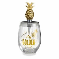 16 Oz Stay Golden Stemless Glass With Gold Pineapple Wine Stopper