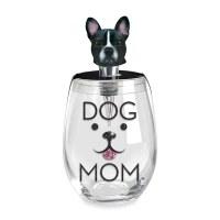 16 Oz Dog Mom Stemless Glass With Dog Wine Stopper