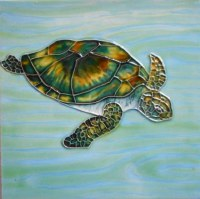 "6"" Square Sea Turtle With  Water Background"