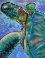 "8"" x 10"" Sea Turtle With Purple and Blue Background"