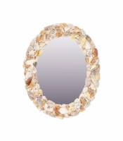 "22"" x 16"" Oval Natural Shell Mirror"