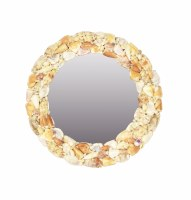 "16"" Round Natural Shell Mirror"