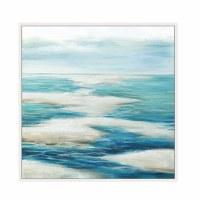 "40"" Square Liquid Blue 2 Framed Canvas"