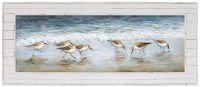 "30"" x 70"" Horizontal Sandpipers On Beach Framed Gel Print"