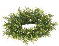 "4"" Opening Faux Tealeaf Berry Accent Candle Ring"