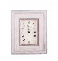"4"" Square Antique White and Silver Table Clock"