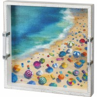"15"" Square Beach Scene Tray"