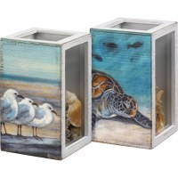 "4"" x 7"" Turtle and Seagull Shell Box"