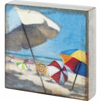 "7"" Square Beach Umbrella Wooden Plaque"