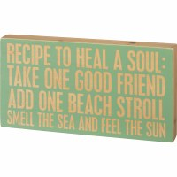 """8"""" x 15"""" Recipe To Heal Soul Wooden Plaque"""