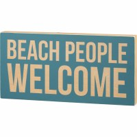 "9"" x 18"" Beach People Welcome Wooden Plaque"