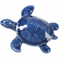 "4"" Dark Blue Ceramic Turtle"