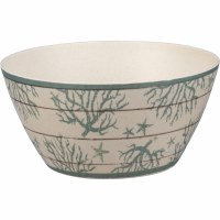 "6"" White With Green Coral Melamine Bowl"