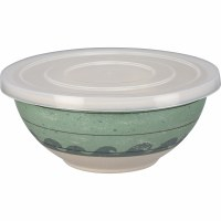 """5"""" Round Green and White Waves Bowl With Lid"""