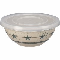 """5"""" Round White With Blue Star Bowl With Lid"""