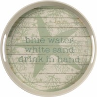 "12"" Round Green Turtle Metal Tray"