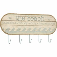 "23"" Where The Beach Is Doing Nothing Wall Plaque With 5 Hooks"