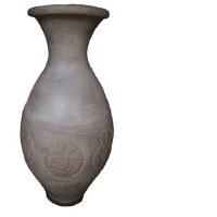 "31"" Antique Gray Finish On Ceramic Vase With Shell Design"