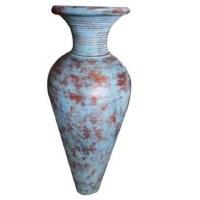 """31"""" Antique Blue Finish On Ceramic Vase"""