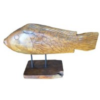 """15"""" Brown Wooden Fish On Stand"""