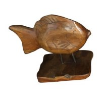 """12"""" x 12"""" Brown Wooden Fish On Wooden Stand"""