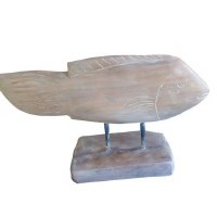 """10"""" x 17"""" White Gray Wooden Fish On Wooden Stand"""