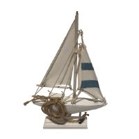 """9"""" Blue and White Sailboat"""