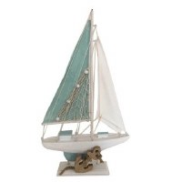 """16"""" Mint and White Sailboat"""
