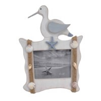 "4"" x 6"" Picture Frame With White and Gray Shore Bird"