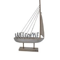 """25"""" Blue Welcome Wooden Boat"""