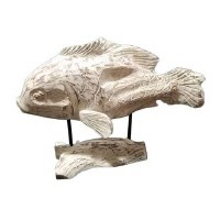 """17"""" x 22"""" White Washed Wooden Fish With Wooden Base"""