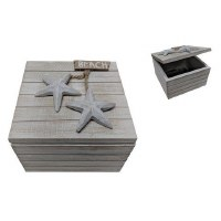 "5"" Square White Washed Wooden Starfish Beach Box"