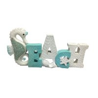 """13"""" Blue and White Beach Sign With Mosaic Seahorse"""