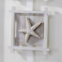 "11"" Square White Washed Starfish Wall Plaque"