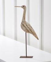 """15"""" White Washed Finish Wooden Shore Bird Figurine"""