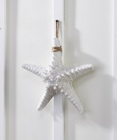 "11"" Antique White Finish Starfish With Rope Hanger"