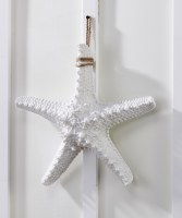 "14"" Antique White Finish Starfish With Rope Hanger"