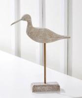 """11"""" White Washed Wooden Shore Bird Figurine"""