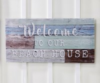 "15"" x 31"" Welcome To Our Beach House Wooden Wall Plaque"