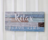 "15"" x 31"" Relax On Beach Time Wooden Wall Plaque"
