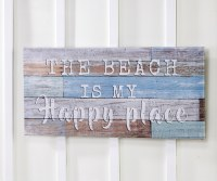 "15"" x 31"" Beach Is My Happy Place Canvas Wall Plaque"