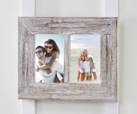 "4"" x 6"" Double White Washed Wooden Picture Frame"
