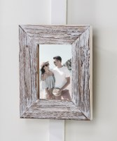 "4"" x 6"" White Washed Wooden Picture Frame"