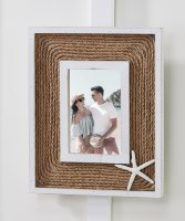 "4"" x 6"" White Starfish Rope Picture Frame"